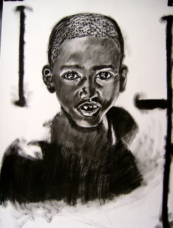 African Drawing - Lonely Black  by Roxana Parje
