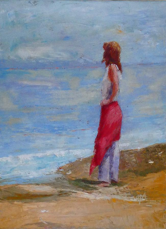 Girl Painting - Sold Lonely By The Sea by Irena Jablonski