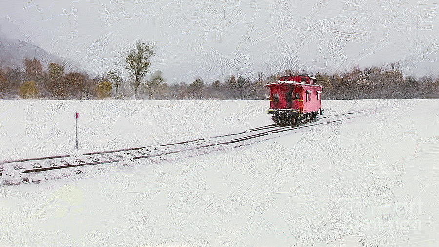 Winter Digital Art - Lonely Caboose by Linda King