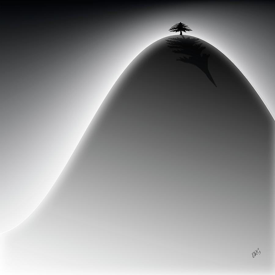 Lonely Cedar Tree - On The Hill Digital Art