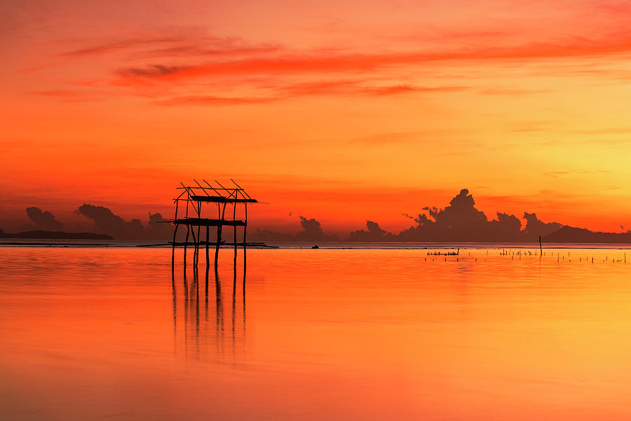 Nature Photograph - Lonely Hut In Sea At Sunrise by Pradeep Raja PRINTS