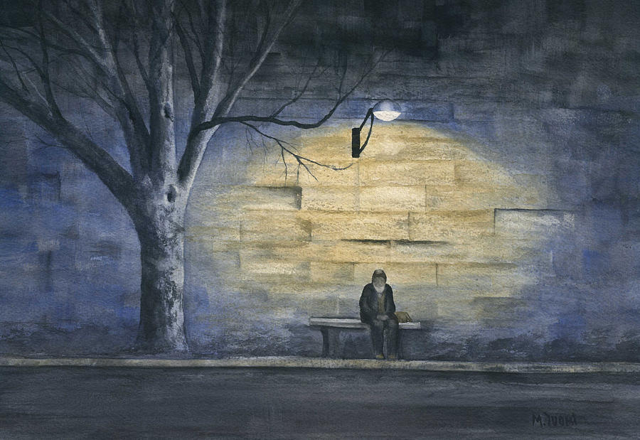 Paris Painting - Lonely in Paris by Mary Tuomi