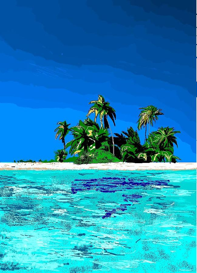 Tropical Island Digital Art - Lonely Island by Robert Rodriguez