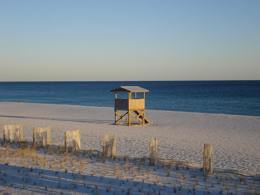 Beach Photograph - Lonely Lifeguard by Navarre Photos