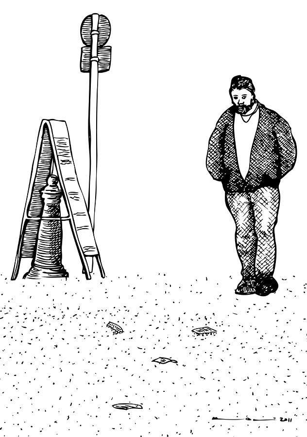 Drawing Drawing - Lonely Man by Karl Addison