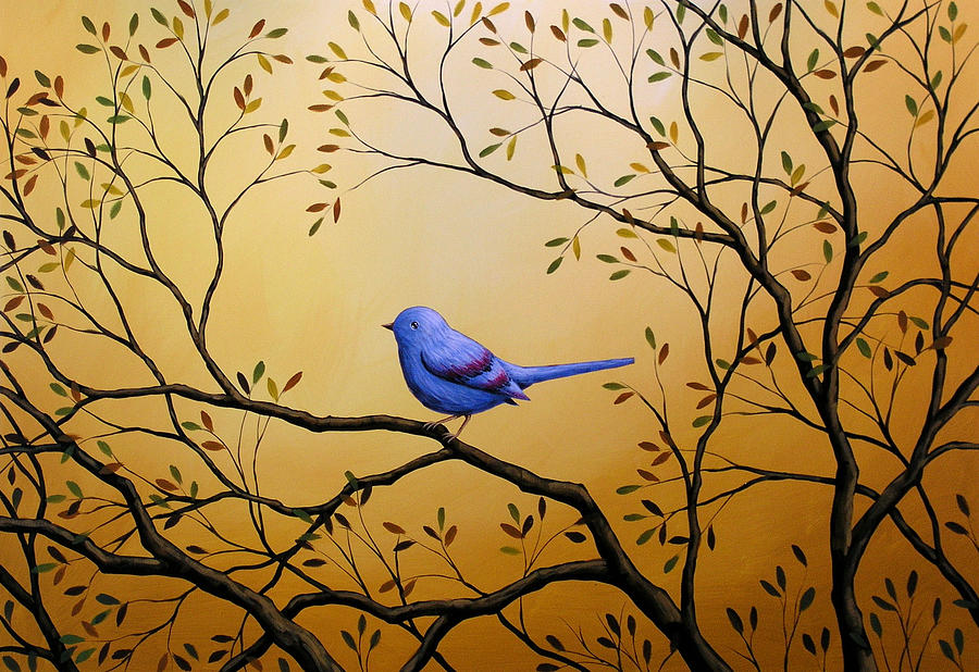 Bird Painting - Lonely Night by Amy Giacomelli BIRD ART by Amy Giacomelli
