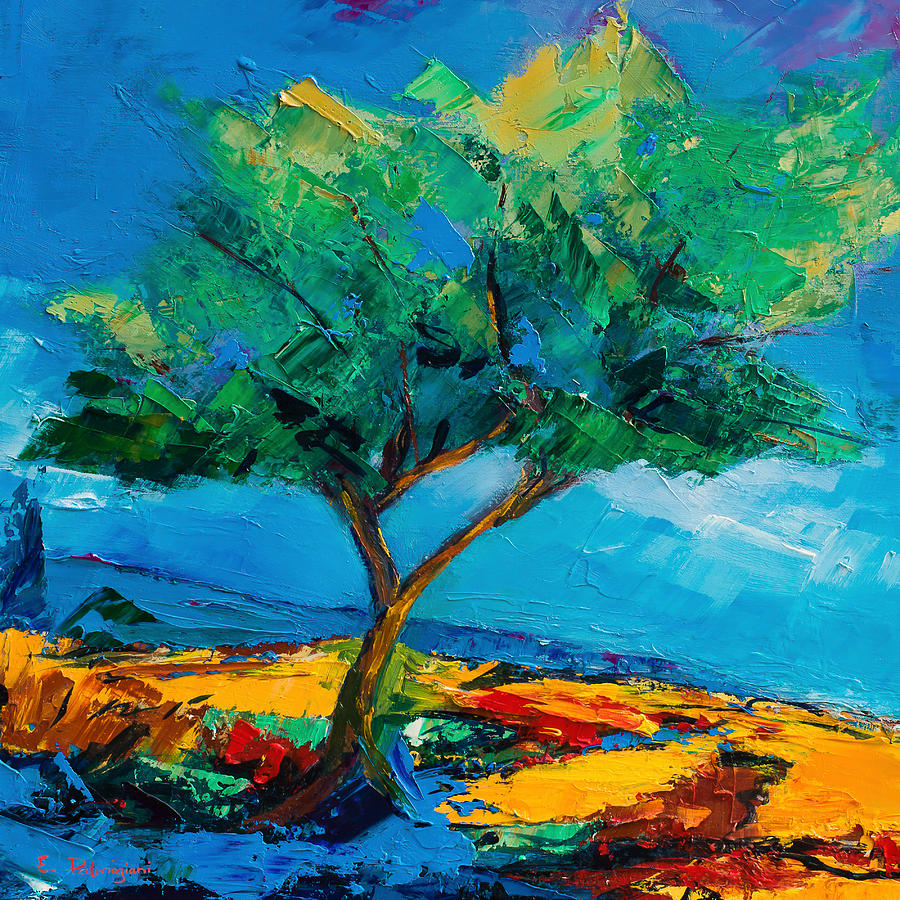 Landscape Painting - Lonely Olive Tree by Elise Palmigiani