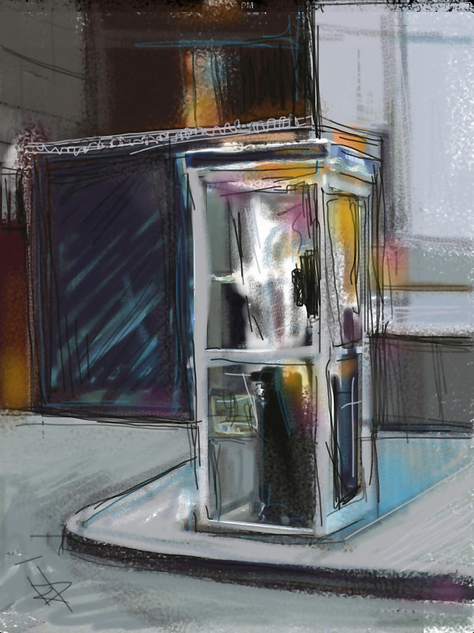Phone Digital Art - Lonely Phone Booth by Russell Pierce