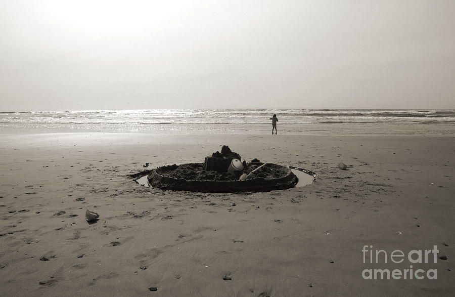 Beach Photograph - Lonely Sandcastle - Toned by Kathi Shotwell