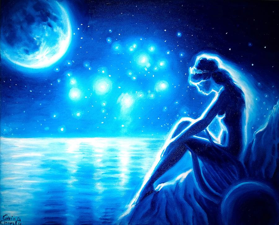 Sappho Painting - lonely Sappho in the night by Chirila Corina