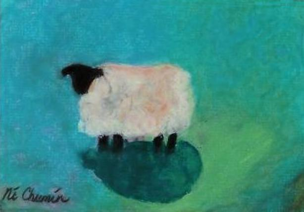 Sheep Painting - Lonely Sheep by Elaine Cummins