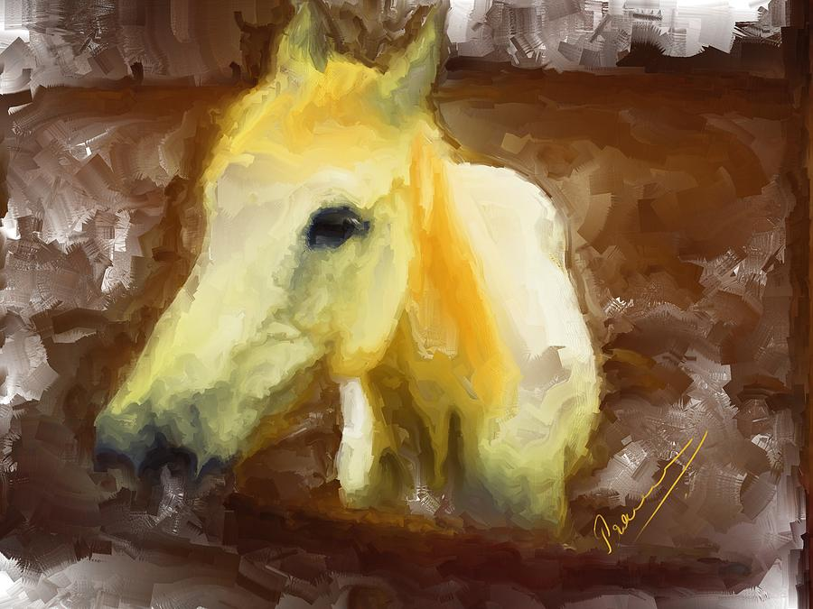 Horse Painting - Lonely Warrior by Kotekoppa Praveen