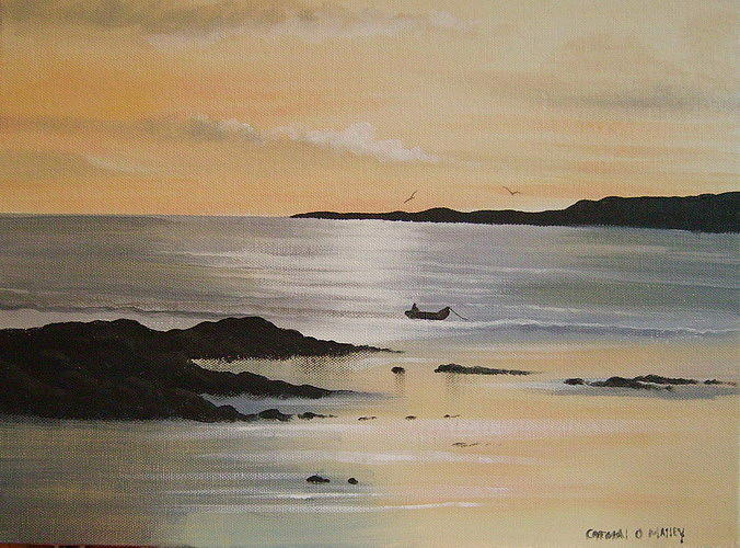 Lonesome Boatman Painting by Cathal O malley