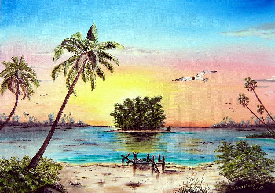 Dock Painting - Lonesome Florida Cay by Riley Geddings