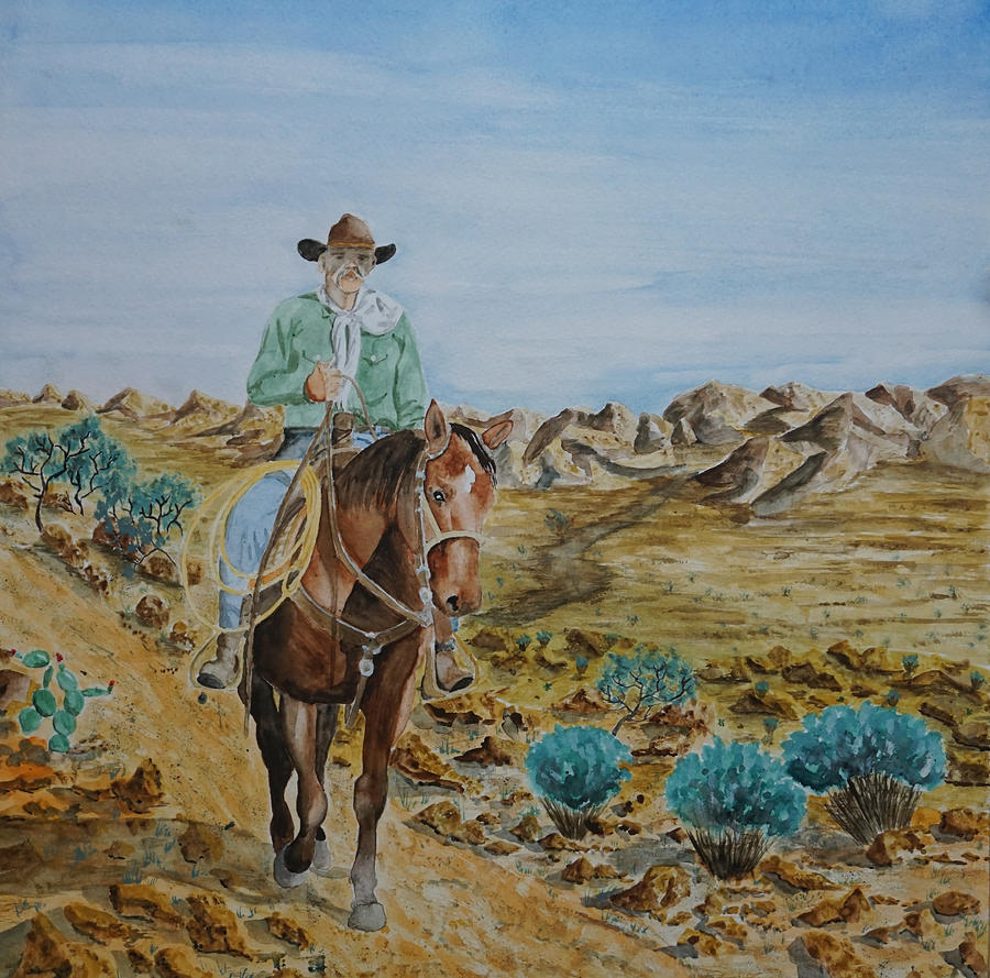 Cowboy Painting - Lonesome Trail by Gary Thomas