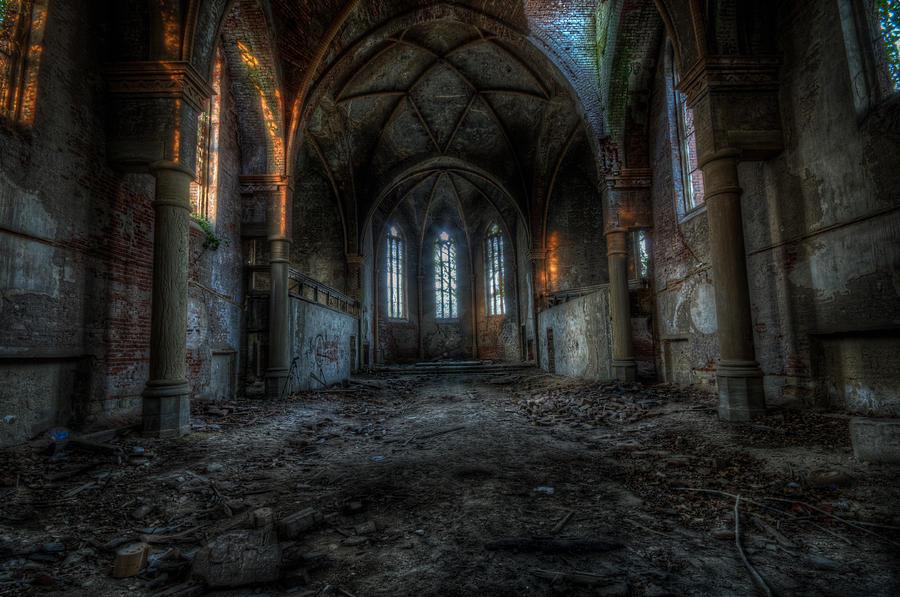 Long Dark Church Digital Art By Nathan Wright