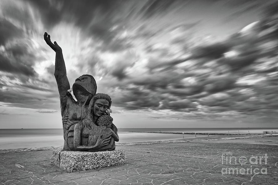 Galveston Photograph - Long Exposure Of The 1900 Hurricane Storm Memorial At The Galveston Seawall - Texas Gulf Coast by Silvio Ligutti