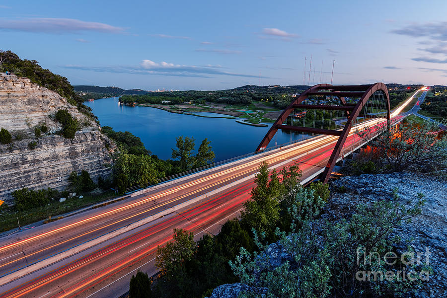 Percy Photograph - Long Exposure View Of Pennybacker Bridge Over Lake Austin At Twilight - Austin Texas Hill Country by Silvio Ligutti