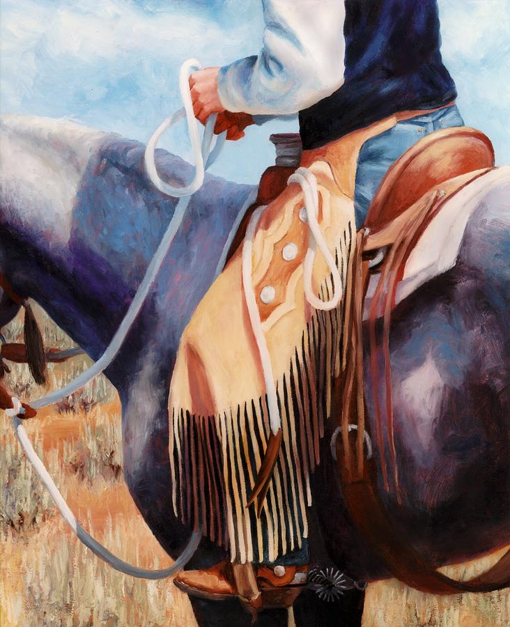 Chaps Painting - Long Fringed Chink Chaps Western Art Cowboy Painting by Kim Corpany