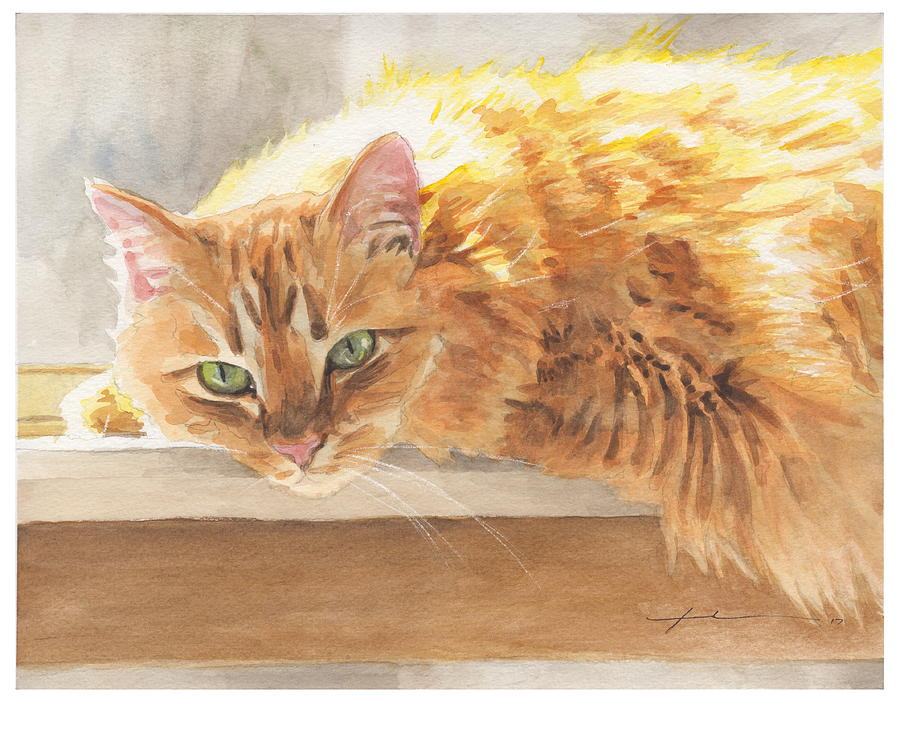 Long-hair Cat Painting by Mike Theuer