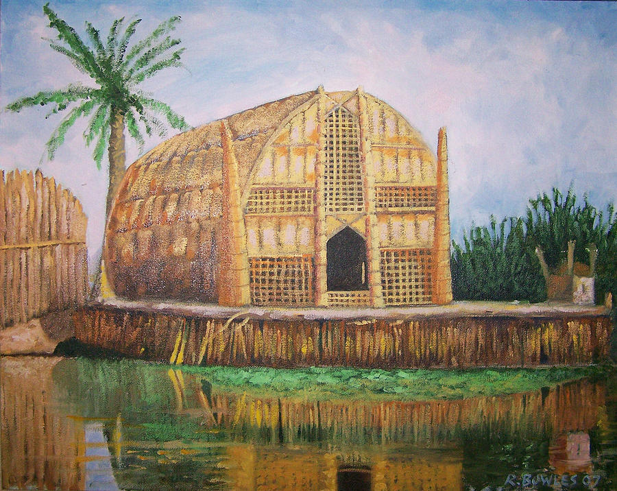 Iraq Painting - Long Hut Of The Marsh Arabs by Ron Bowles