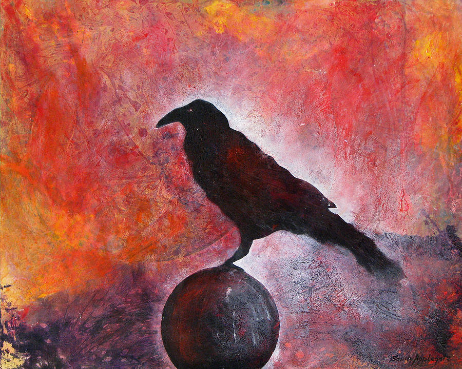 Raven Painting - Long I Stood There by Sandy Applegate