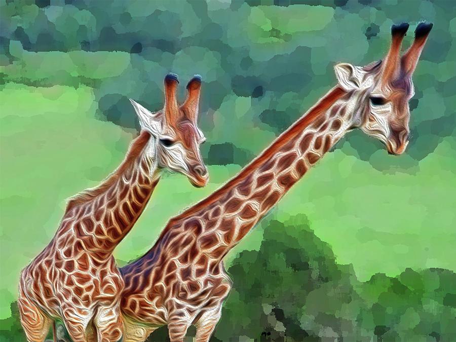 Animals Digital Art - Long Necked Giraffes 2 by Bruce Iorio