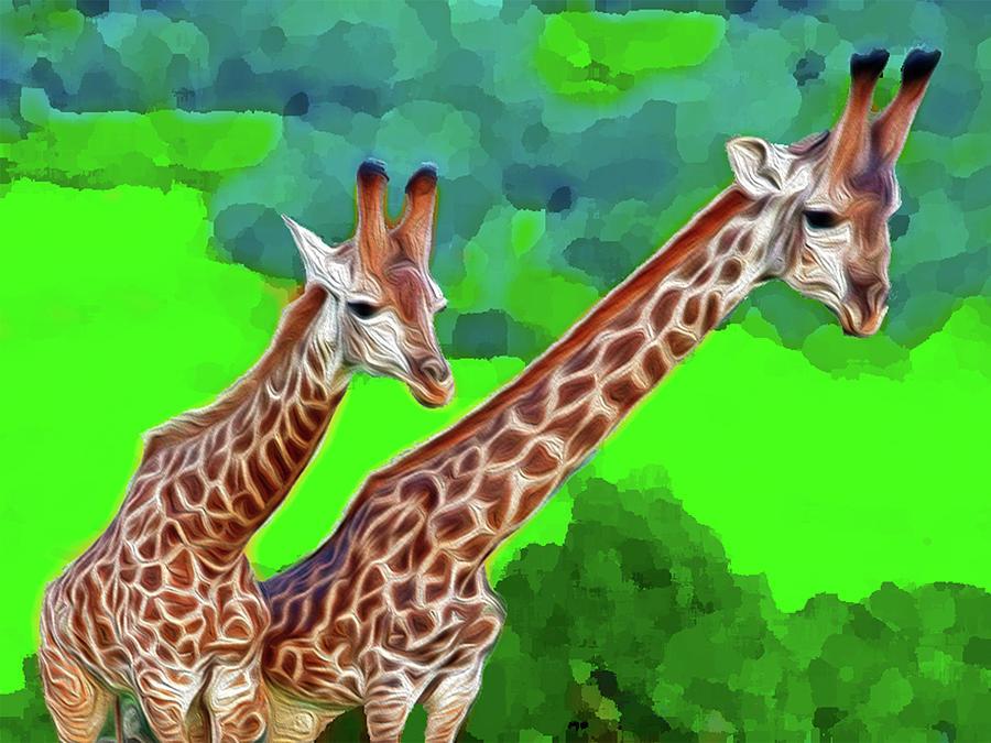 Animals Digital Art - Long Necked Giraffes 3 by Bruce Iorio