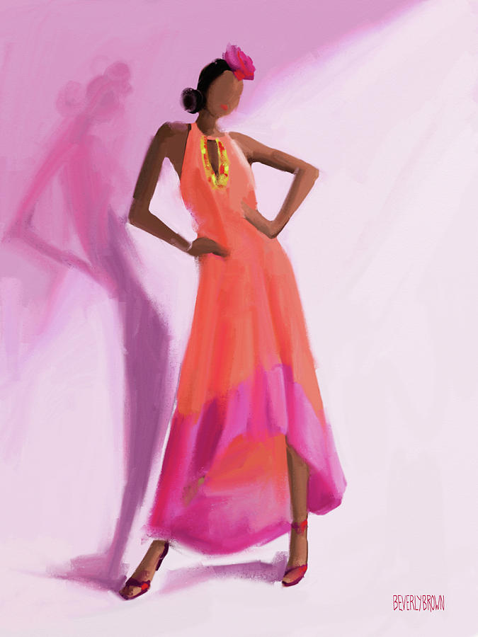 Fashion Painting - Long Orange And Pink Dress Fashion Illustration Art Print by Beverly Brown