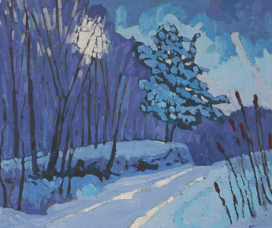 March Painting - Long Reach Snow Day by Phil Chadwick