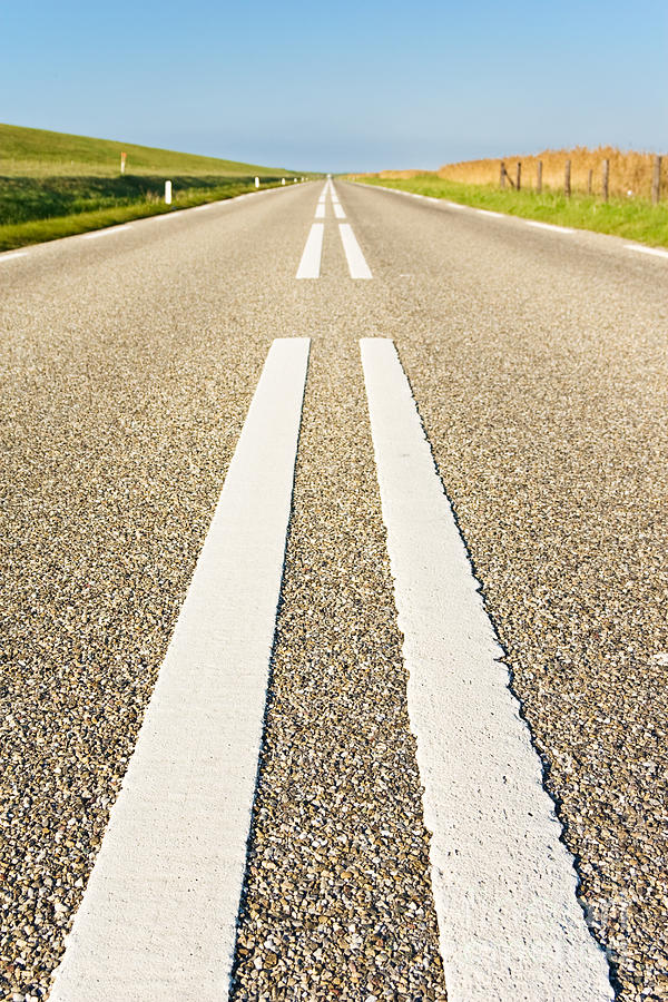 Road Photograph - Long Road by David Bleeker