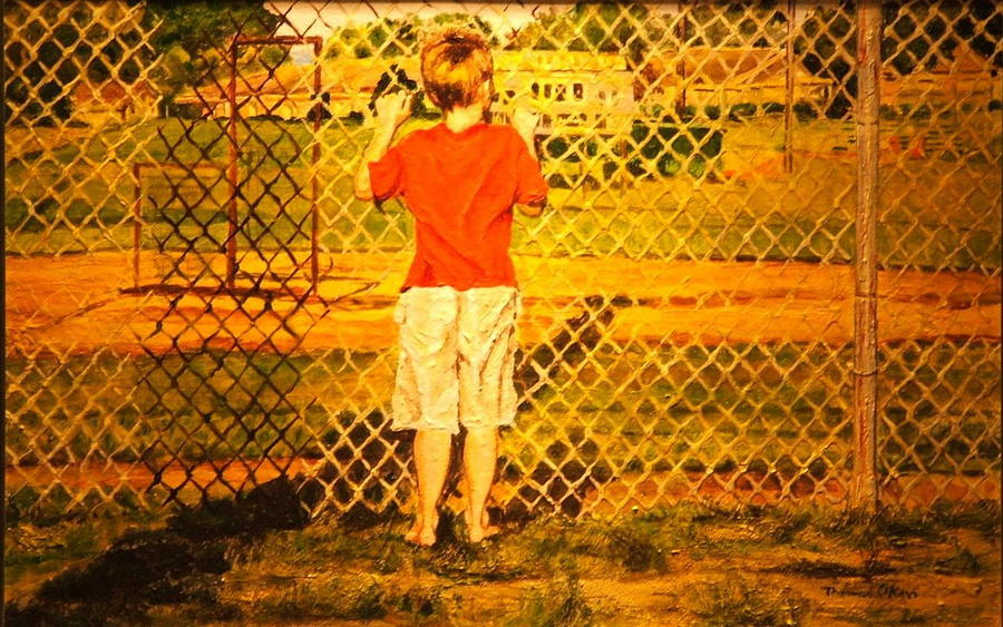 Children Painting - Long Shadows by Thomas Akers