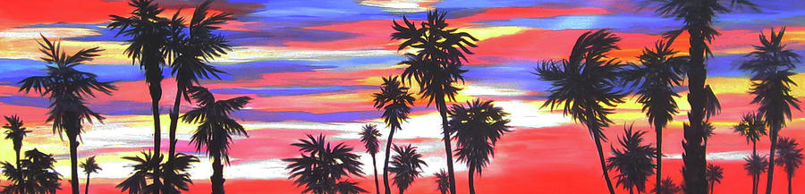 Sunset Painting - Long Skinny Sunset by Anne Marie Brown