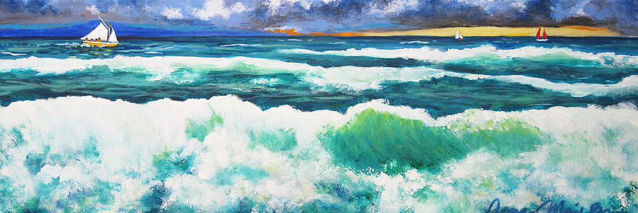Ocean Painting - Long Thin Wave by Anne Marie Brown