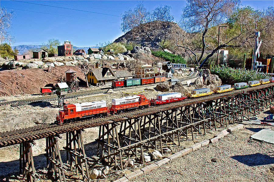 Long Train Trestle In Train Display At Living Desert Zoo And Gardens In Palm Desert California