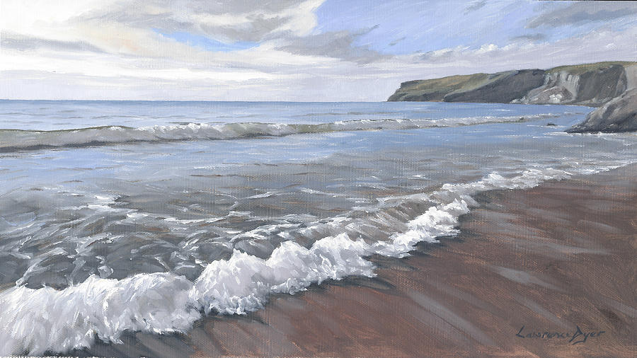 Waves Painting - Long Waves At Trebarwith by Lawrence Dyer