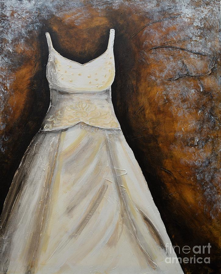 Long Dress Painting - Long White Gown  by Patricia Panopoulos