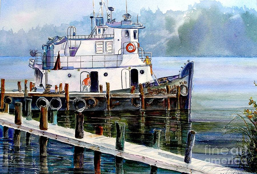 Tugboat Painting - Longboat Key Tugboat by Midge Pippel