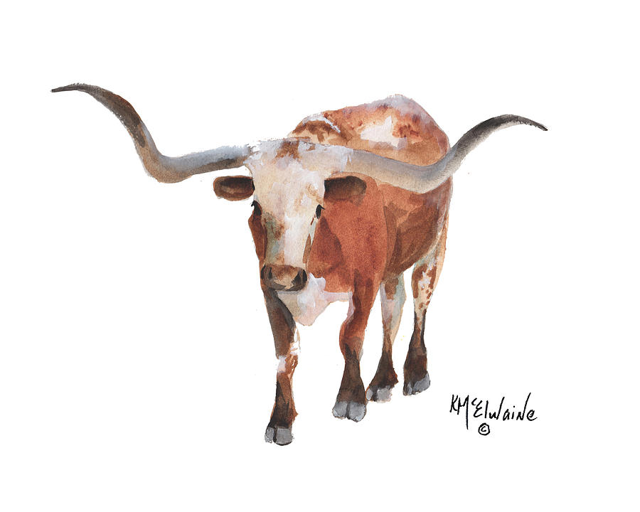 Longhorn 17 Big Daddy watercolor painting by KMcElwaine by Kathleen McElwaine