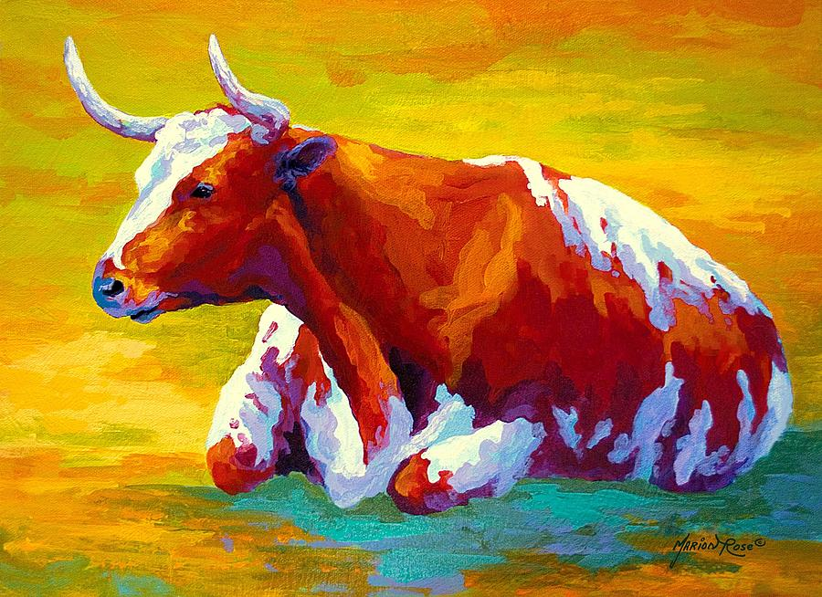 Western Painting - Longhorn Cow by Marion Rose