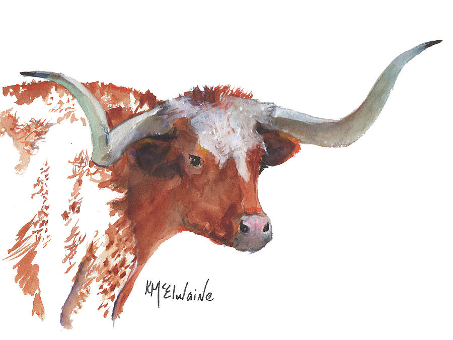 A Texas Longhorn Portrait by Kathleen McElwaine