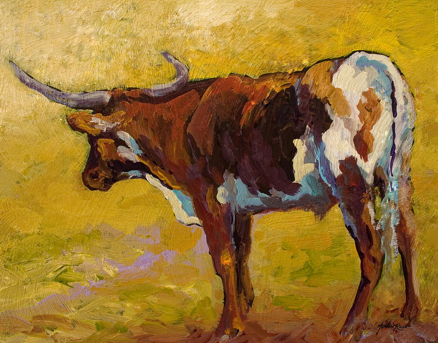 Longhorn Painting - Longhorn Study by Marion Rose