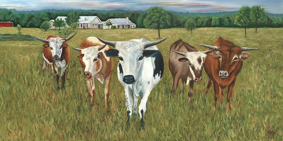 Longhorns Painting - Longhorns by Helen Eaton