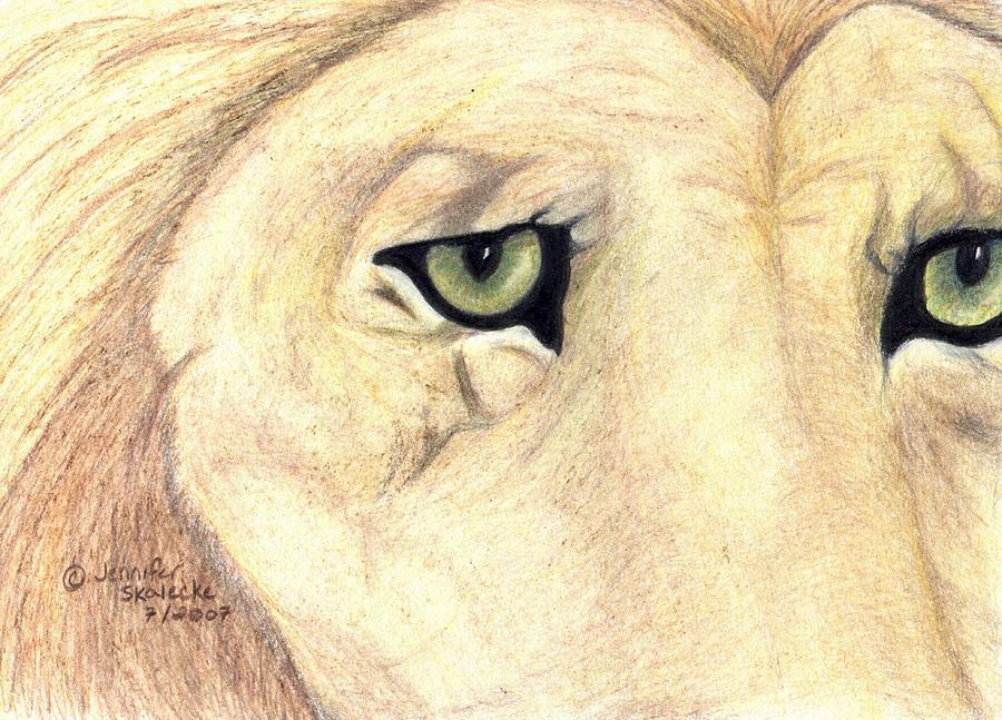 Lion Drawing - Longing by Jennifer Skalecke