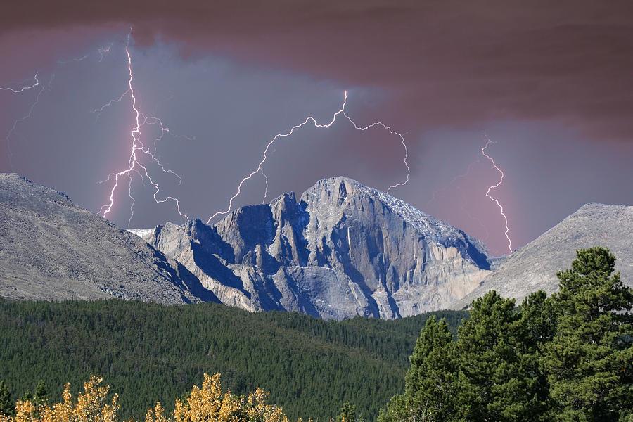 Longs Peak Photograph - Longs Peak Lightning Storm Fine Art Photography Print by James BO  Insogna