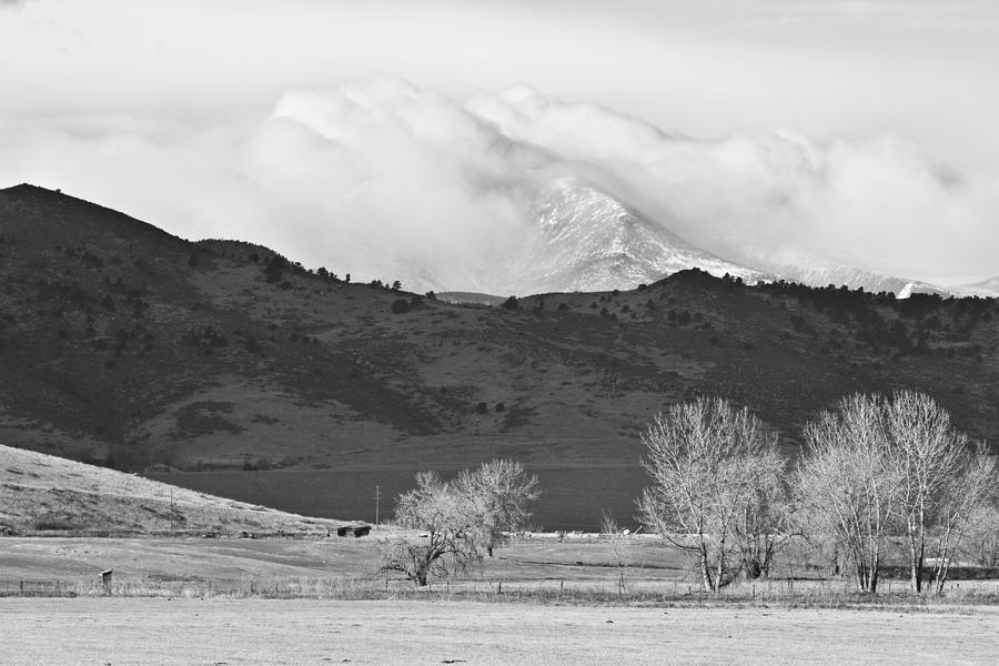 Colorado Photograph - Longs Peak Snow Storm Bw by James BO  Insogna