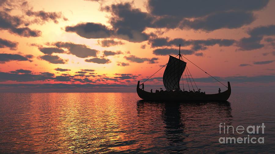 Viking Digital Art - Longship At Sunset by Fairy Fantasies