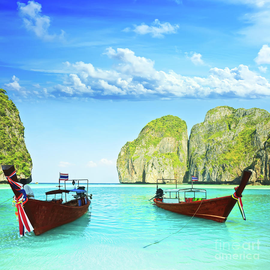 longtail boats at maya bay photograph by mothaibaphoto prints. Black Bedroom Furniture Sets. Home Design Ideas