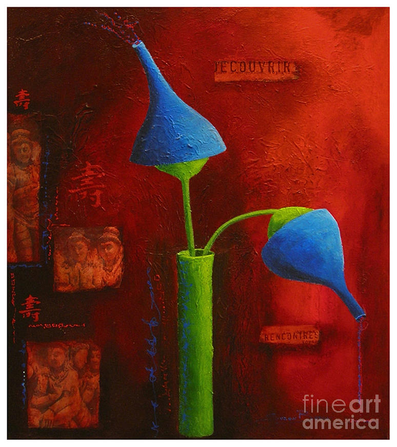 Red Painting - Longue Vie by Suzon Baron