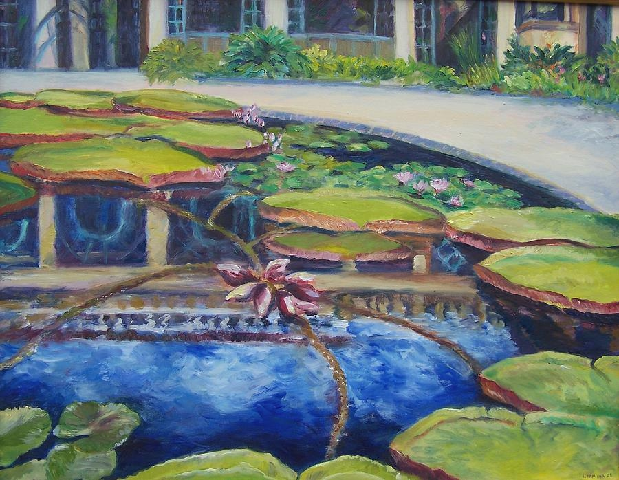 Water Lilies Painting - Longwood Reflections by Laura McMillan